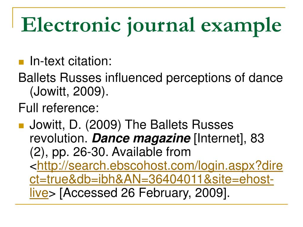 Electronic journal example