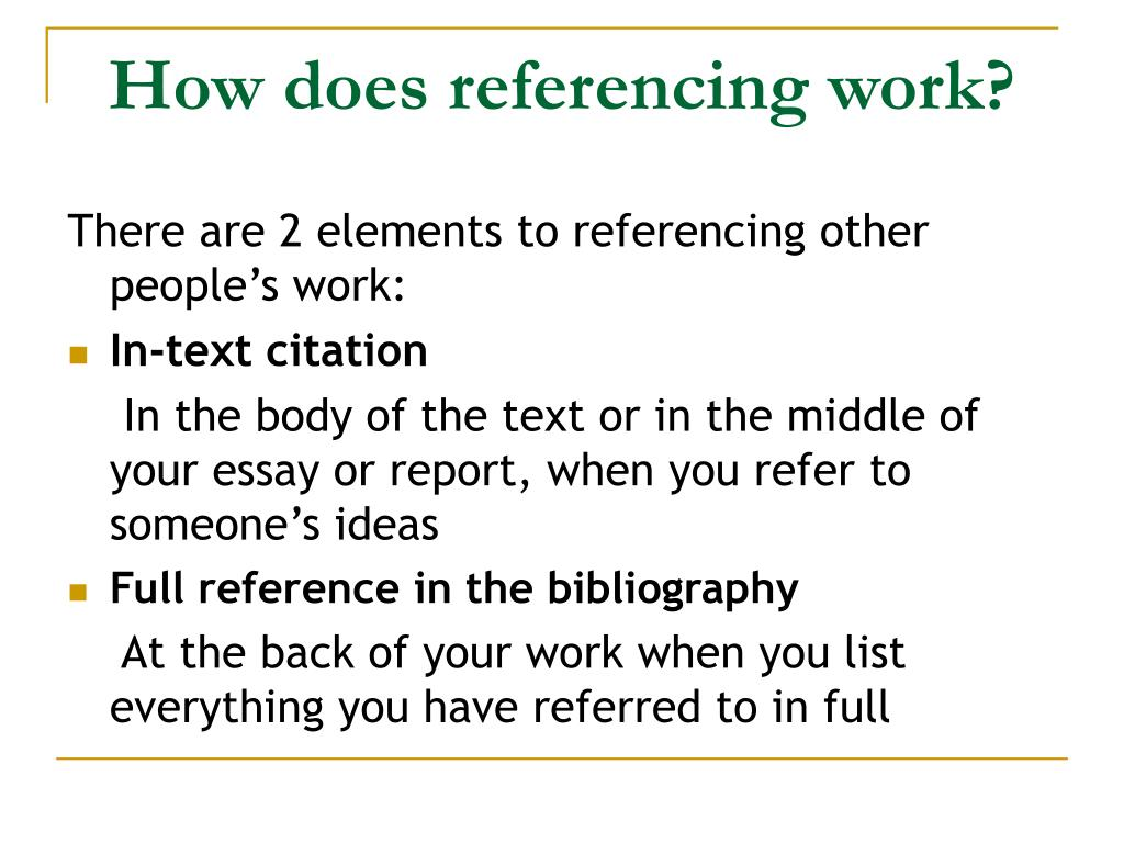 How does referencing work?