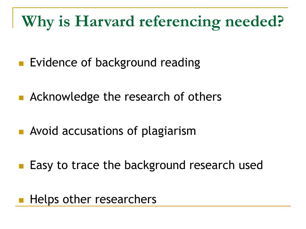 Why is Harvard referencing needed?