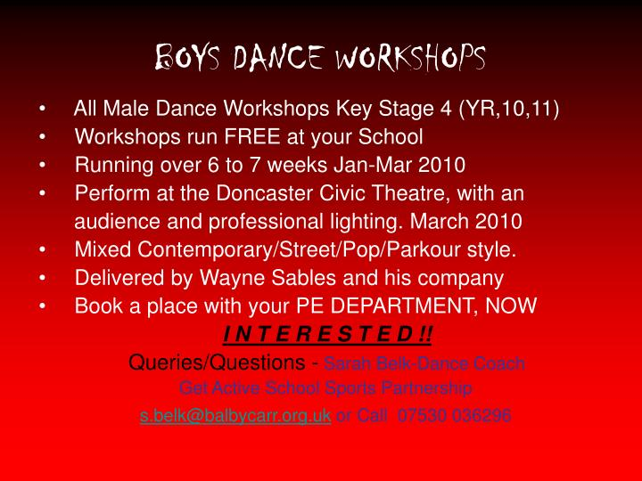 Boys dance workshops
