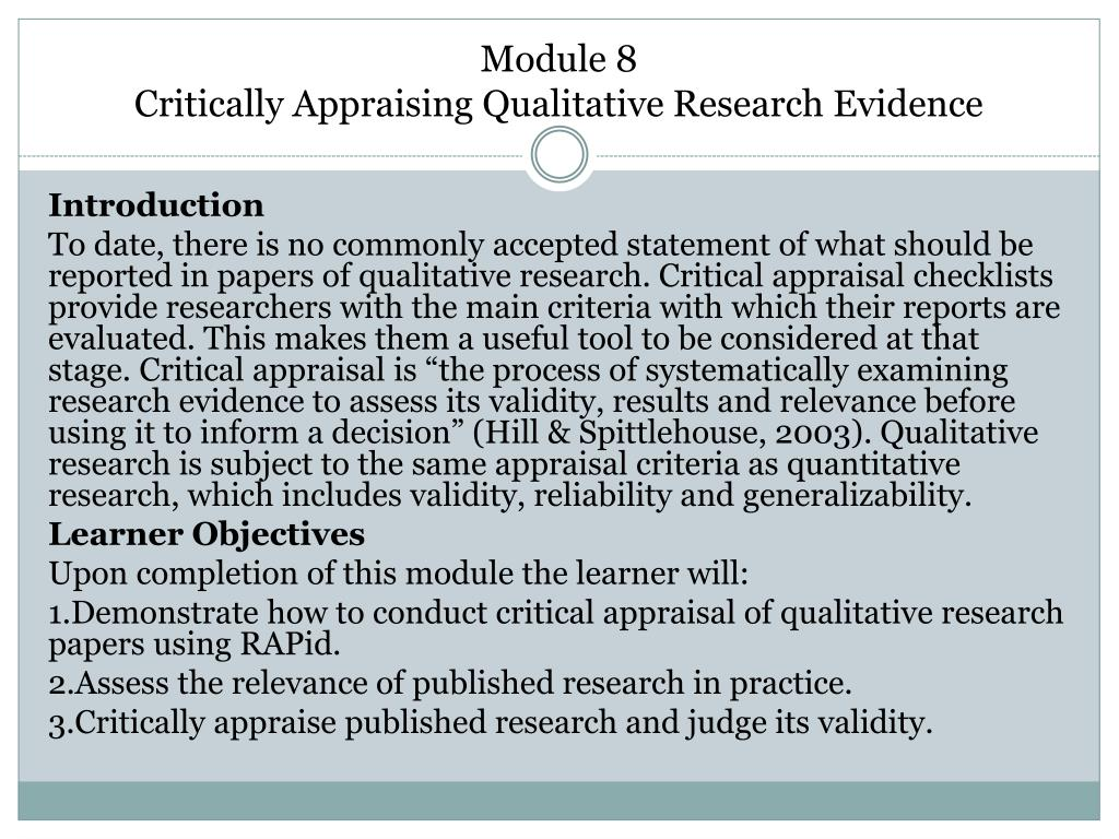 critical appraisal of research paper