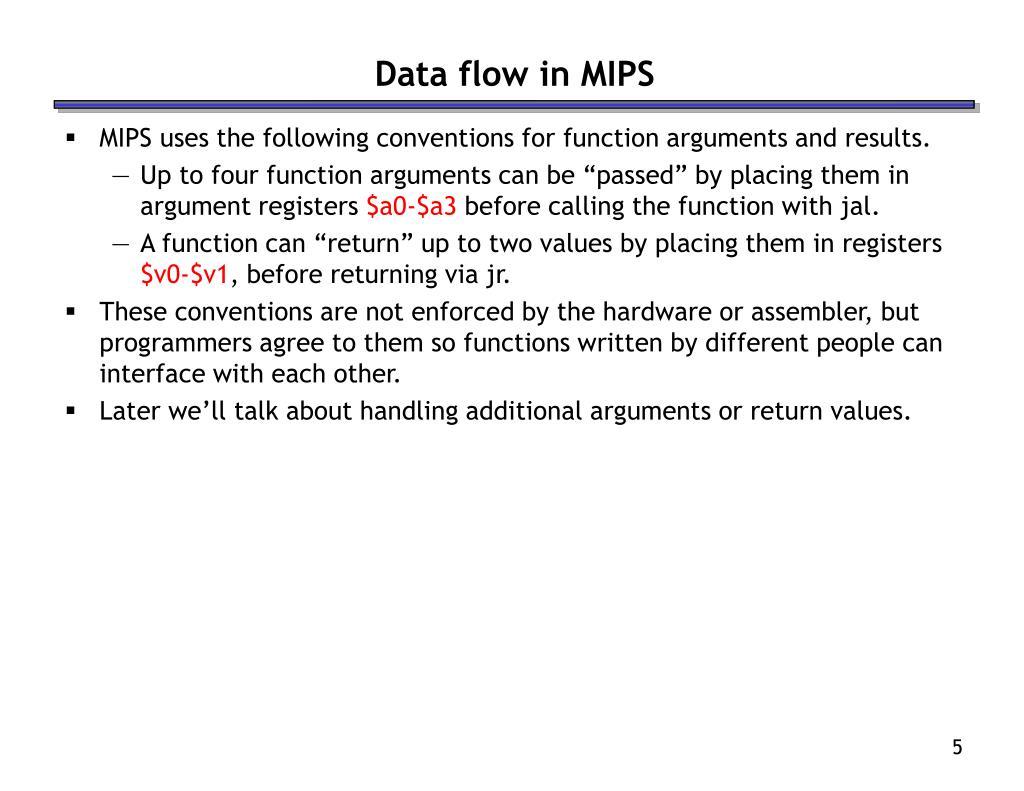 Data flow in MIPS