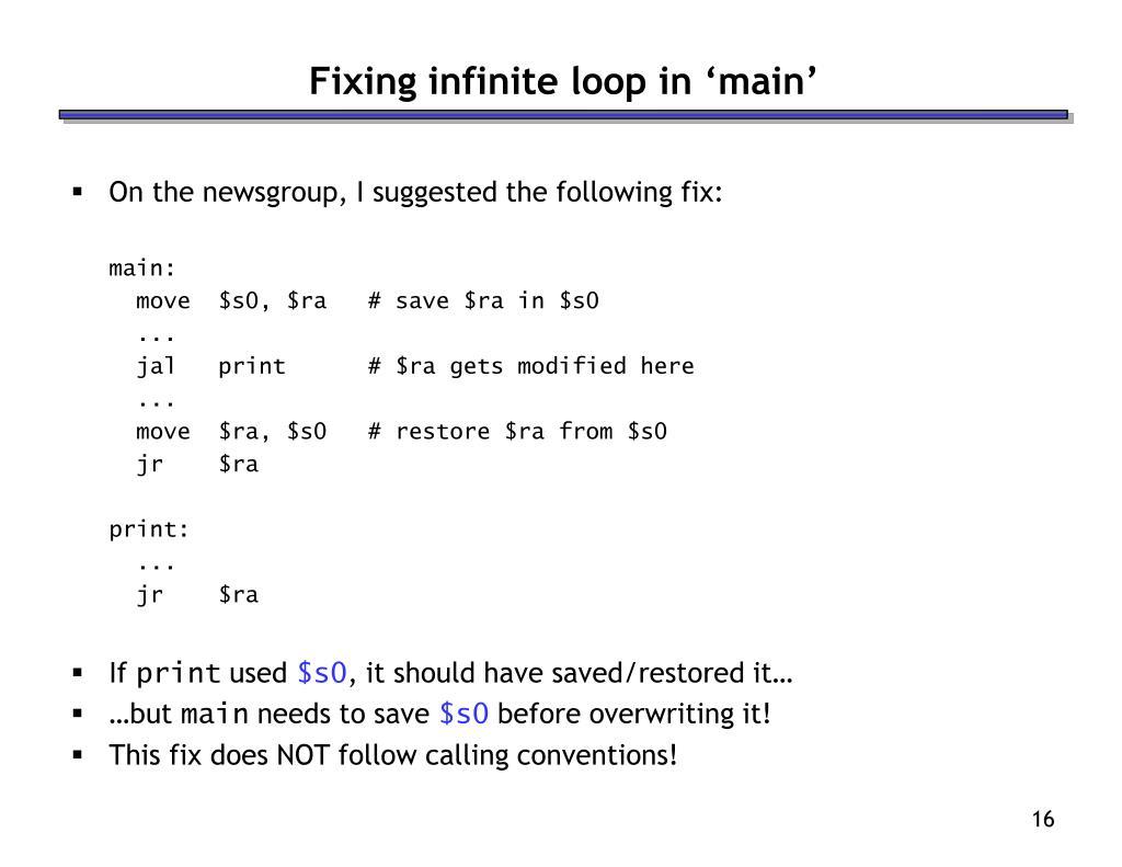 Fixing infinite loop in 'main'