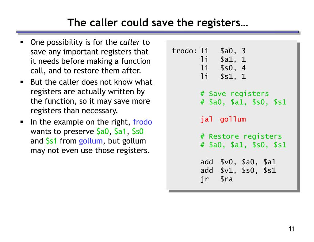 The caller could save the registers…