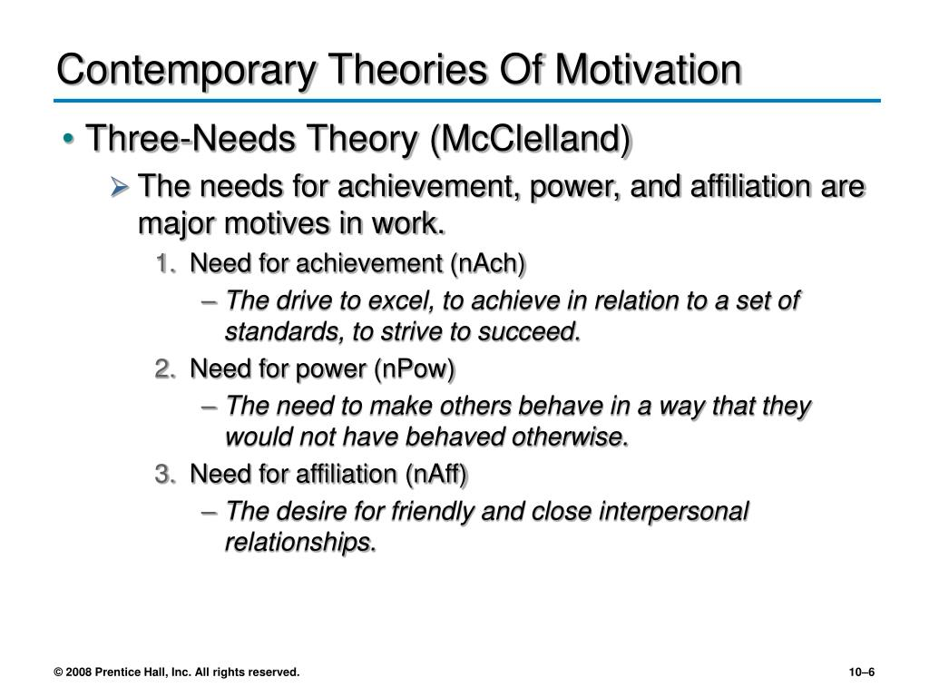 what are some contemporary theories of motivation Most contemporary theories recognize that motivation begins with individual needs needs are deficiencies that energize or trigger behaviors to satisfy those needs at some point in your life, you might have a strong need for food and shelter.