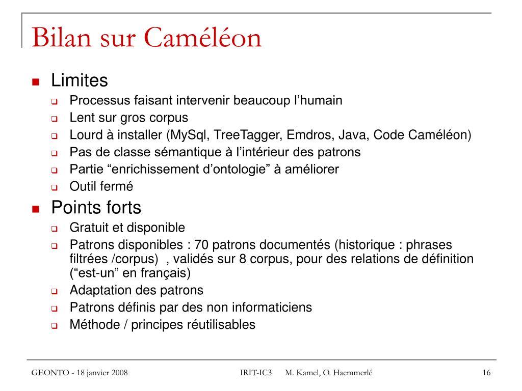 Bilan sur Caméléon