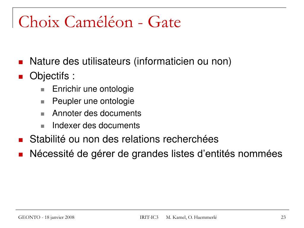 Choix Caméléon - Gate