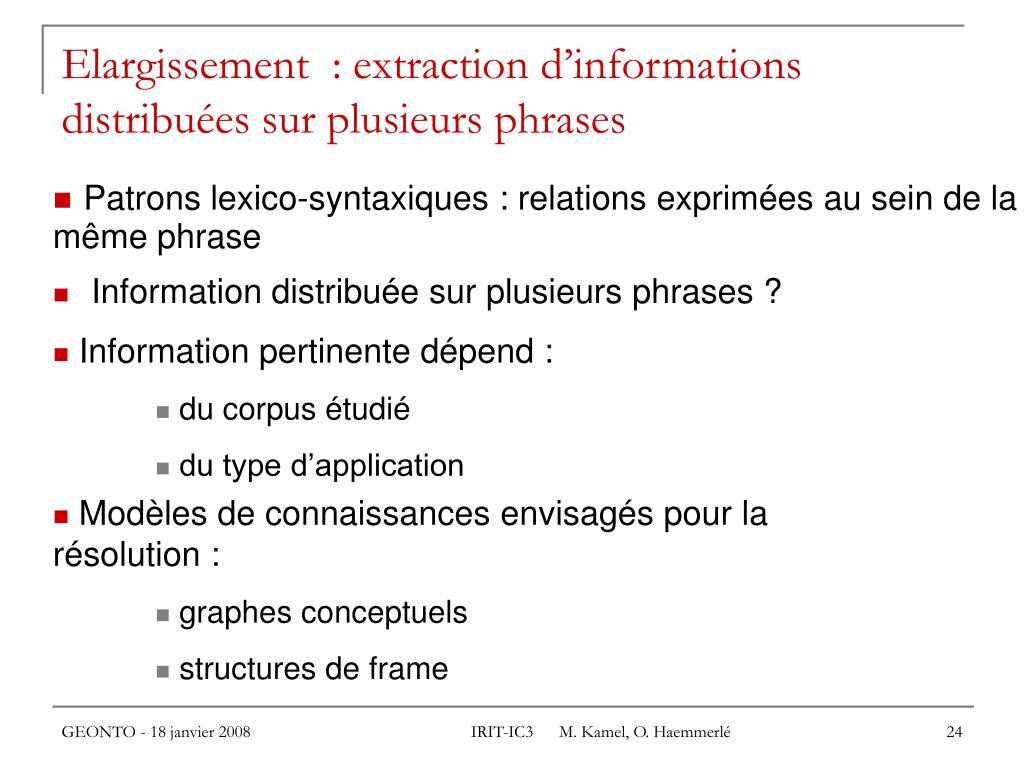 Elargissement  : extraction d'informations distribuées sur plusieurs phrases