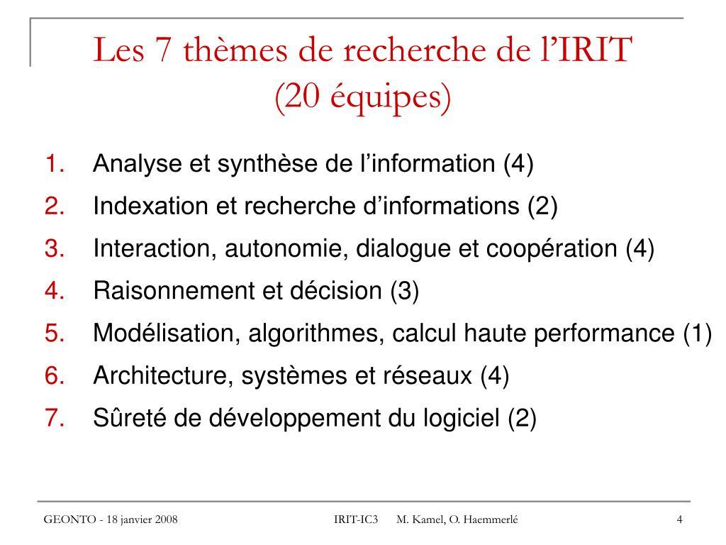 Les 7 thèmes de recherche de l'IRIT