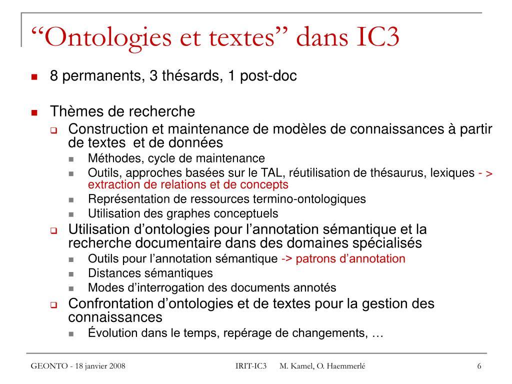 """""""Ontologies et textes"""" dans IC3"""