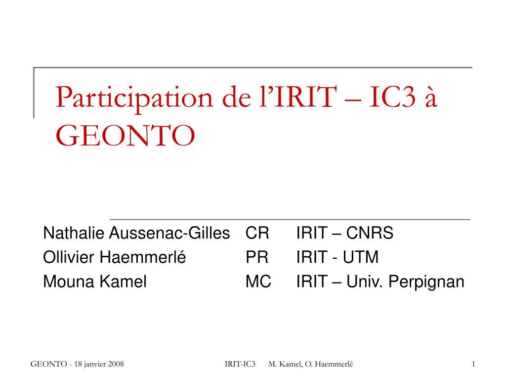 Participation de l'IRIT – IC3 à GEONTO