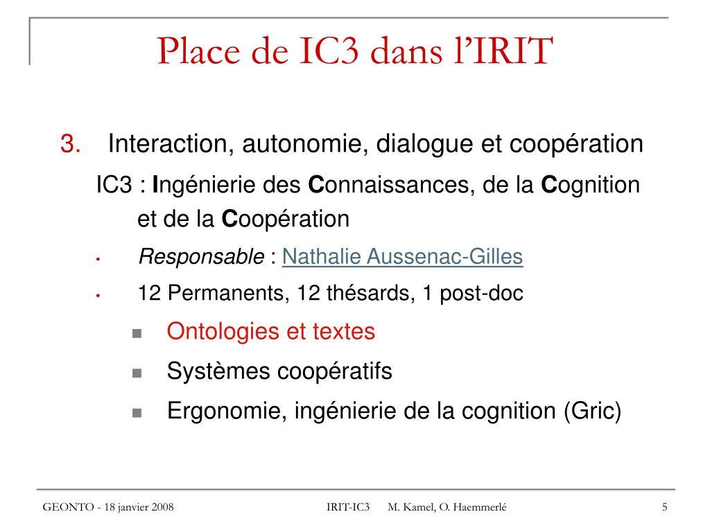 Place de IC3 dans l'IRIT