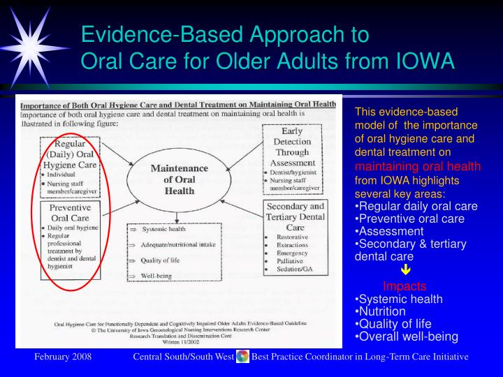 Evidence based approach to oral care for older adults from iowa
