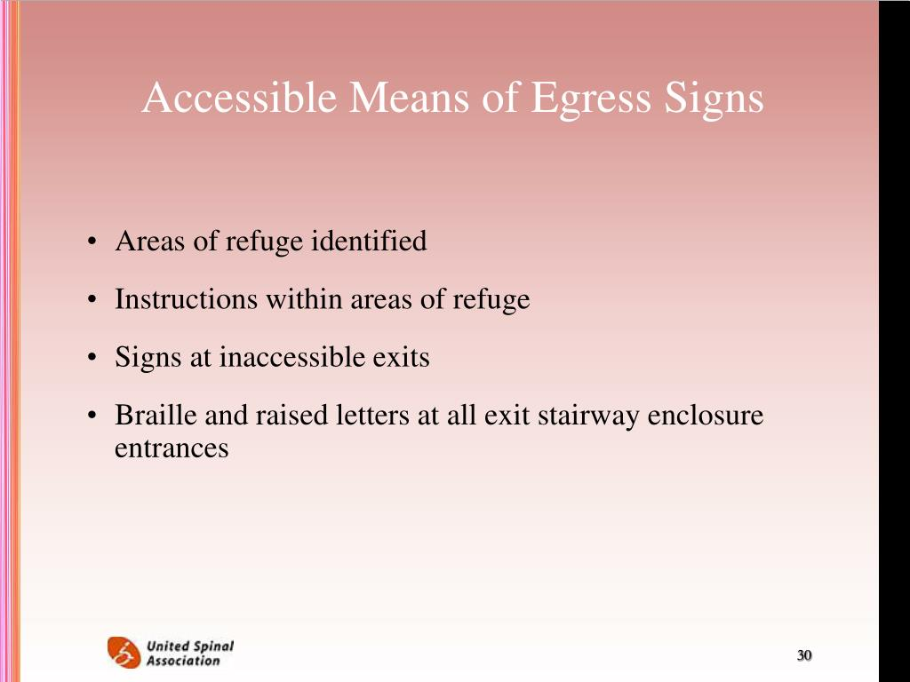 Accessible Means of Egress Signs