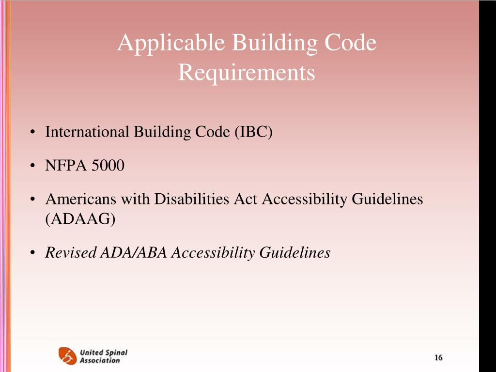 Applicable Building Code Requirements