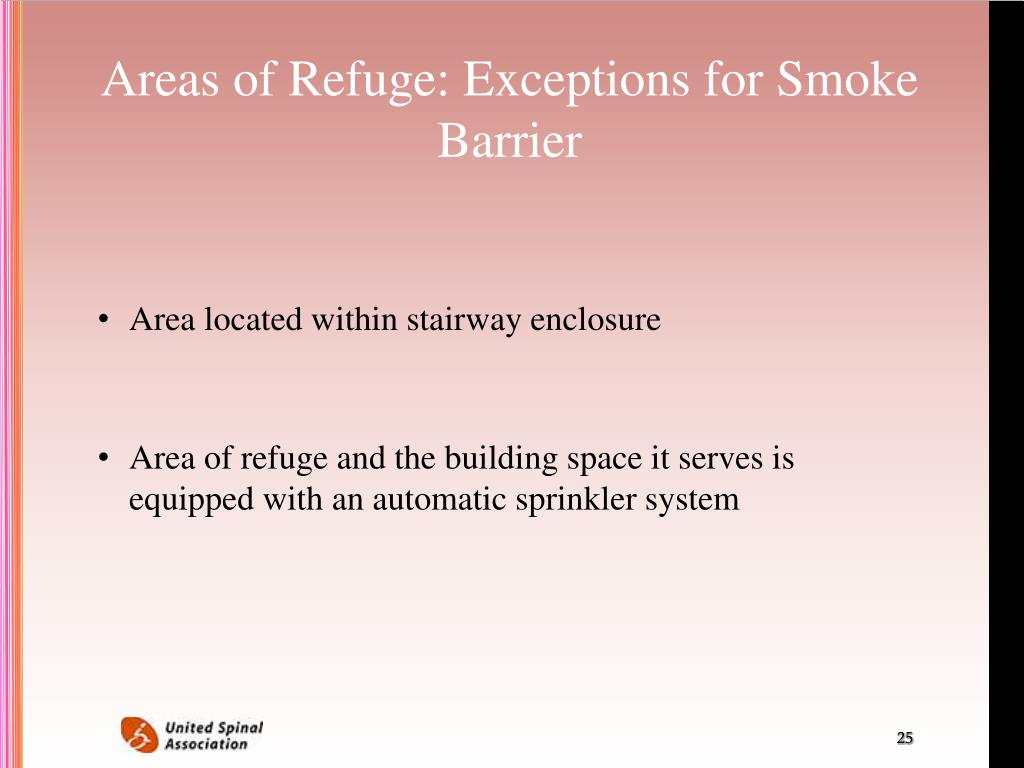 Areas of Refuge: Exceptions for Smoke Barrier