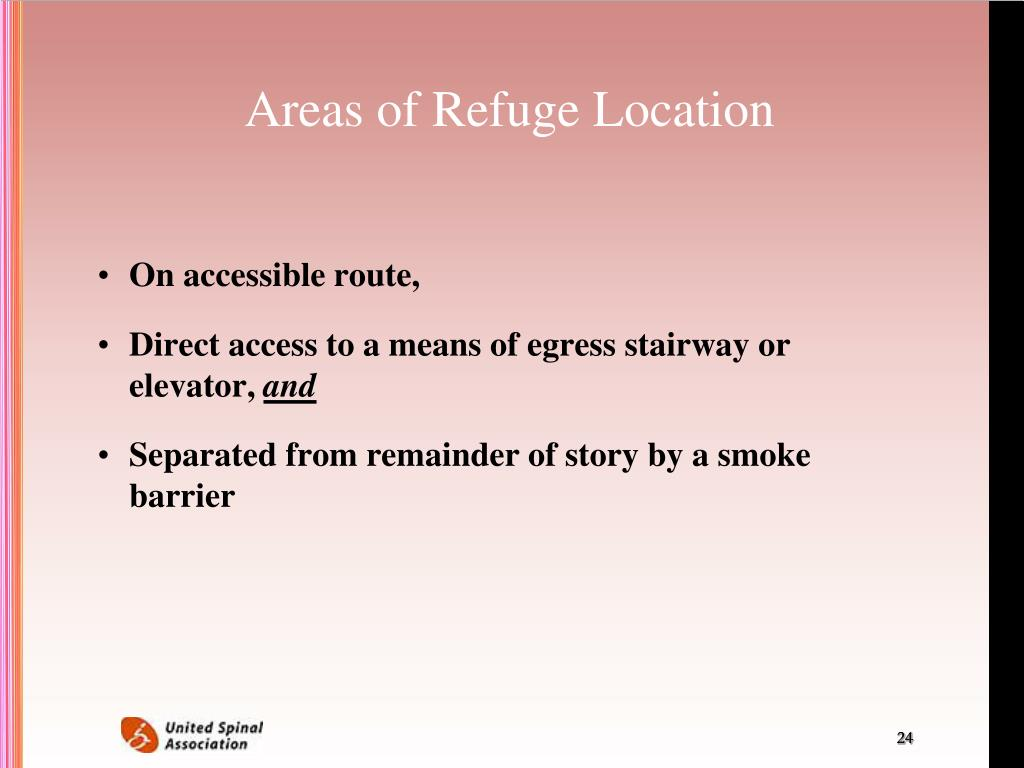 Areas of Refuge Location