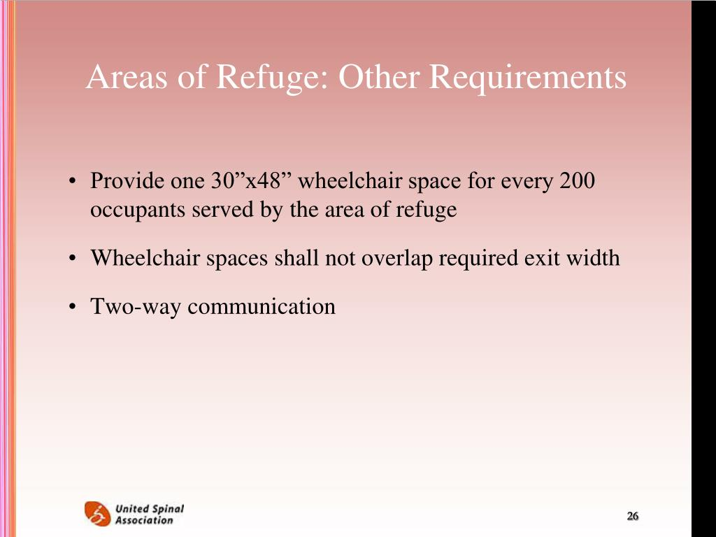 Areas of Refuge: Other Requirements