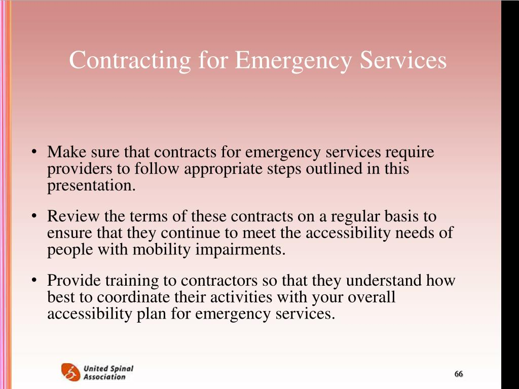 Contracting for Emergency Services