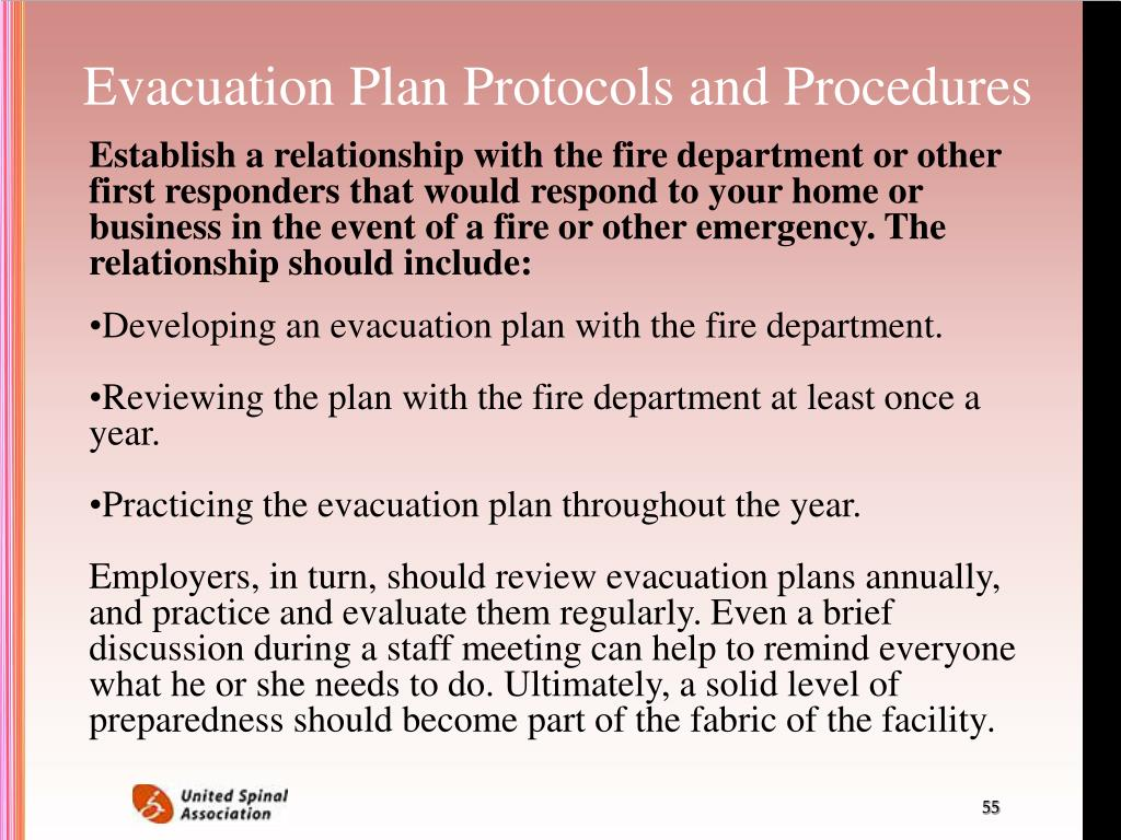 Evacuation Plan Protocols and Procedures