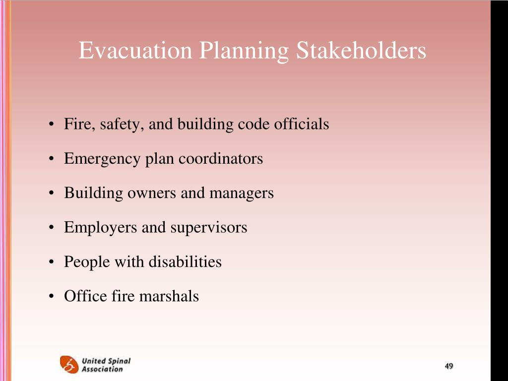Evacuation Planning Stakeholders