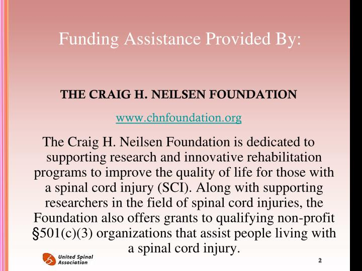 Funding assistance provided by