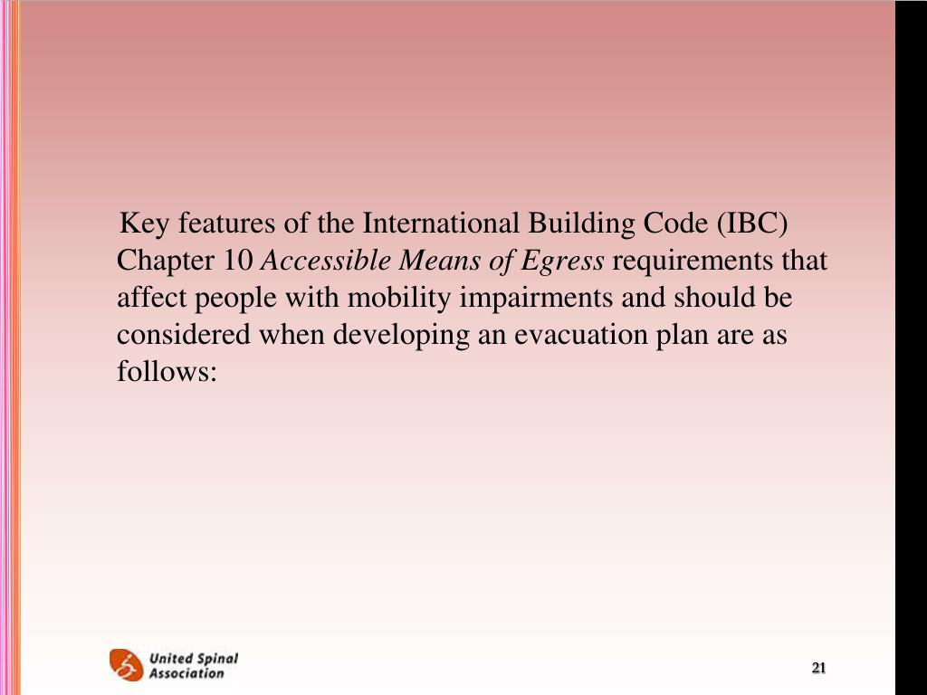 Key features of the International Building Code (IBC) Chapter 10