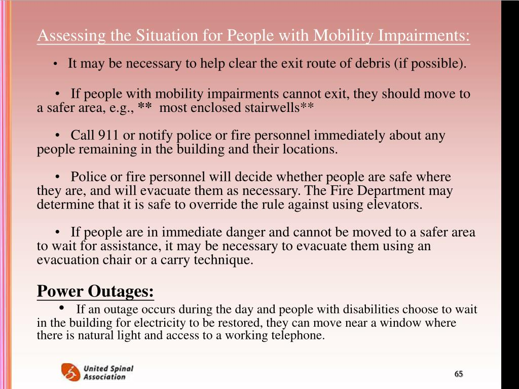 Assessing the Situation for People with Mobility Impairments:
