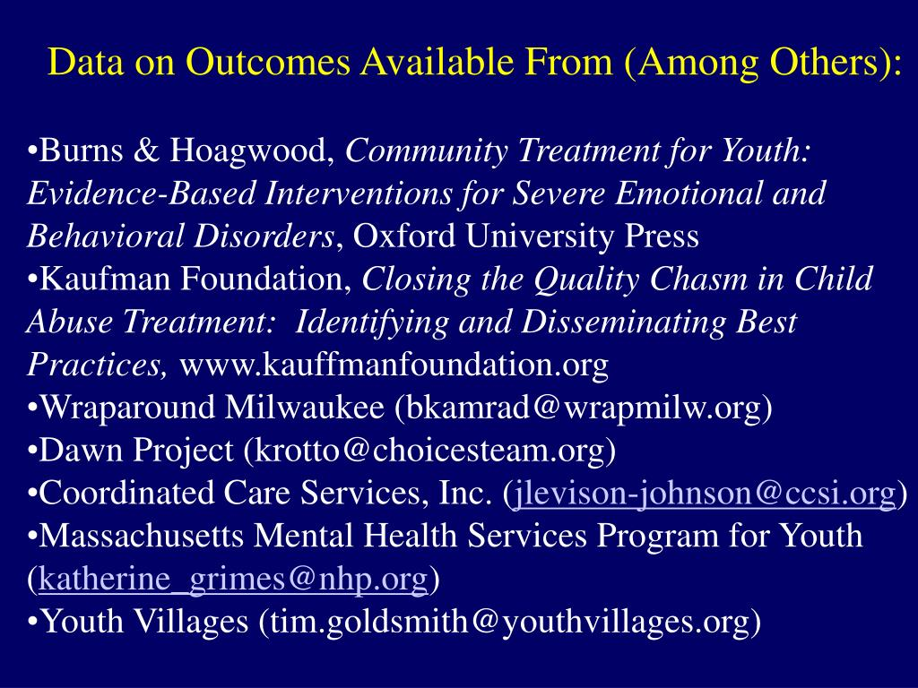 Data on Outcomes Available From (Among Others):