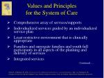 values and principles for the system of care