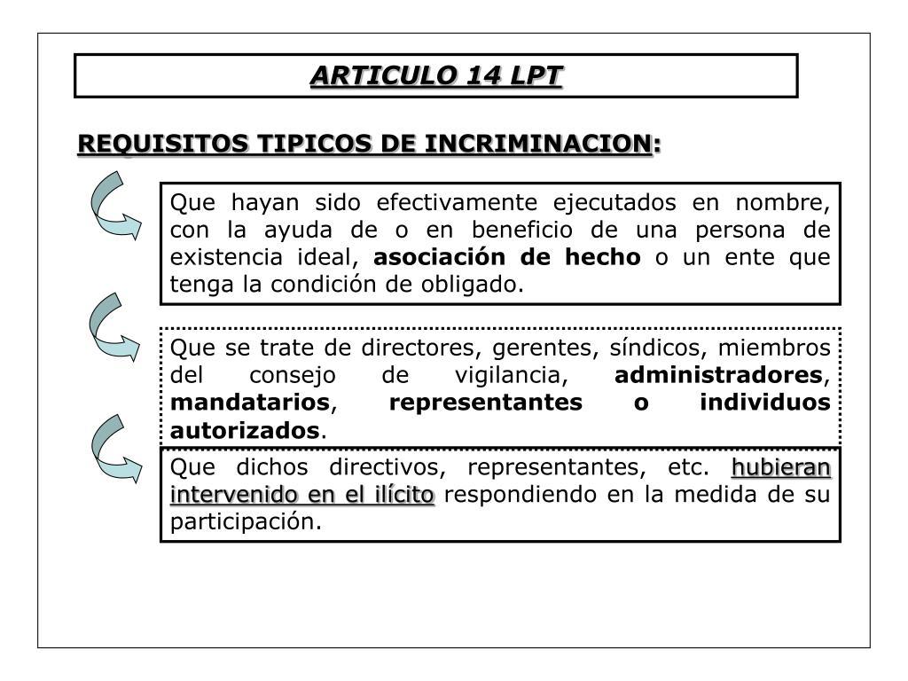ARTICULO 14 LPT