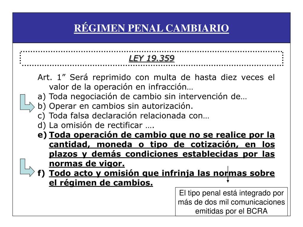 RÉGIMEN PENAL CAMBIARIO