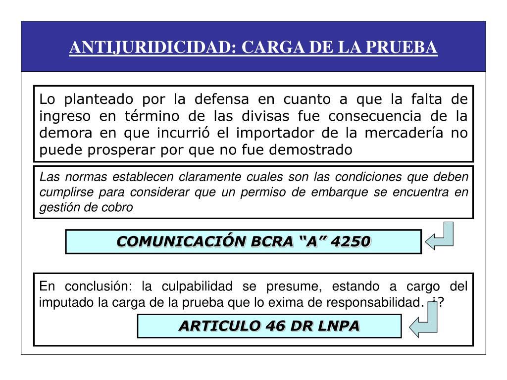 ANTIJURIDICIDAD: CARGA DE LA PRUEBA