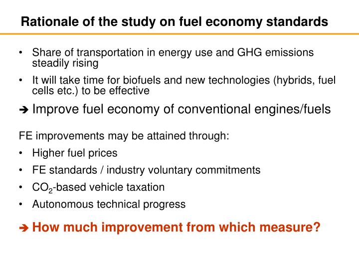 Rationale of the study on fuel economy standards