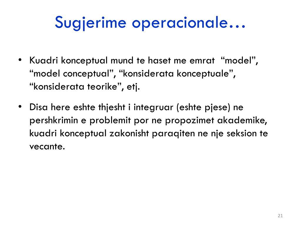 Sugjerime operacionale…