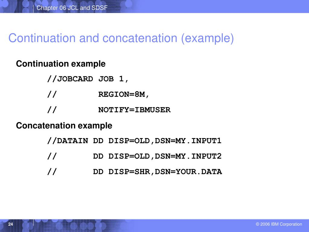 Continuation and concatenation (example)