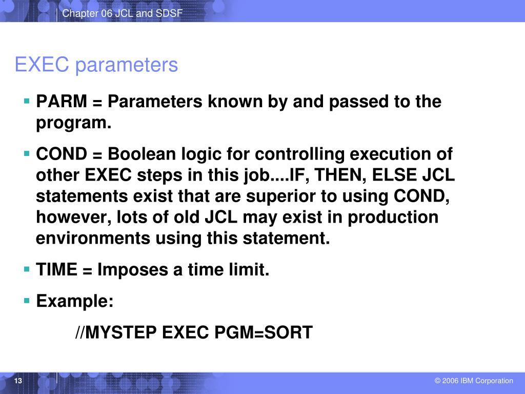 EXEC parameters