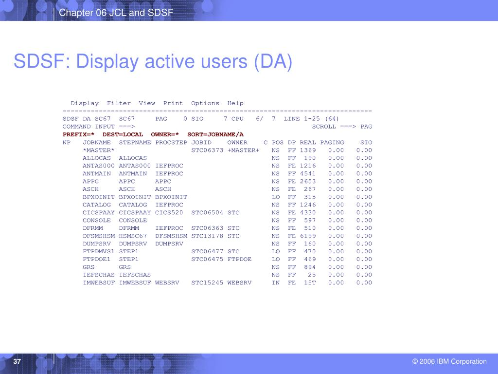 SDSF: Display active users (DA)