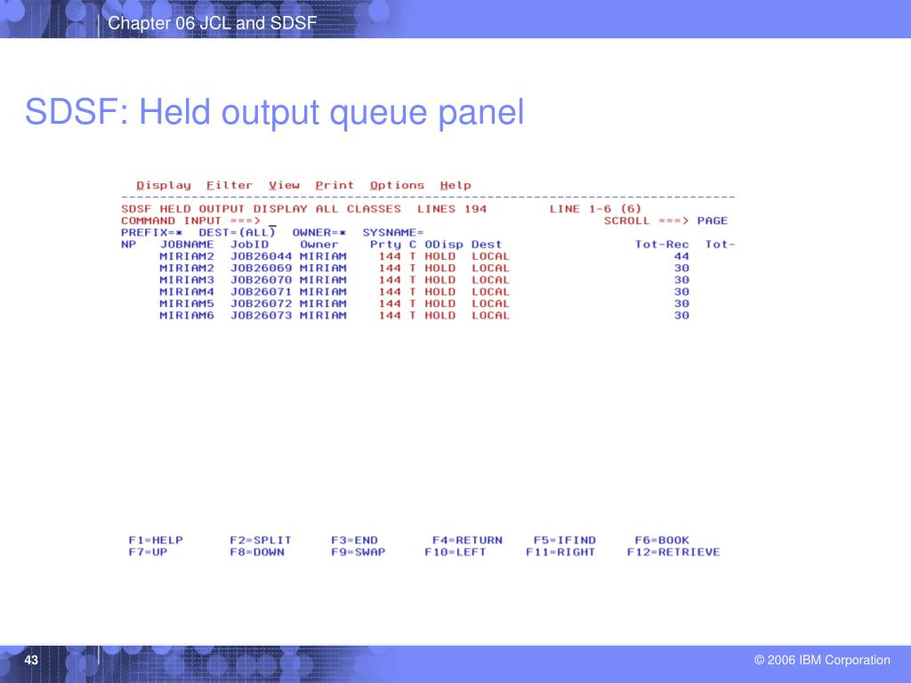 SDSF: Held output queue panel