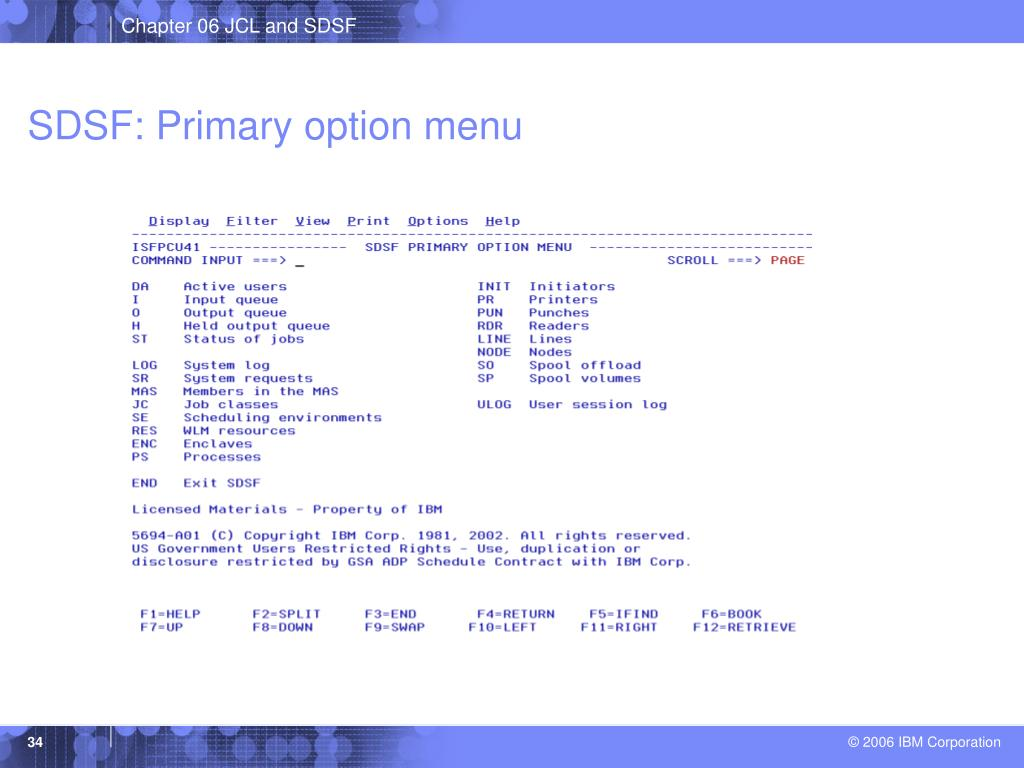 SDSF: Primary option menu