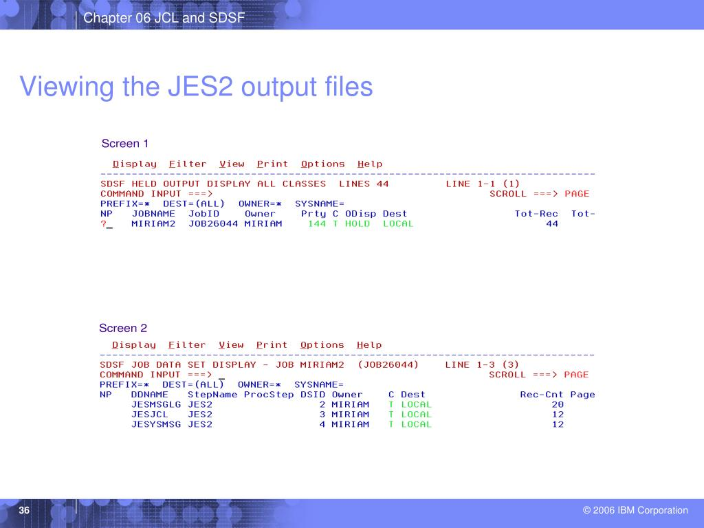 Viewing the JES2 output files