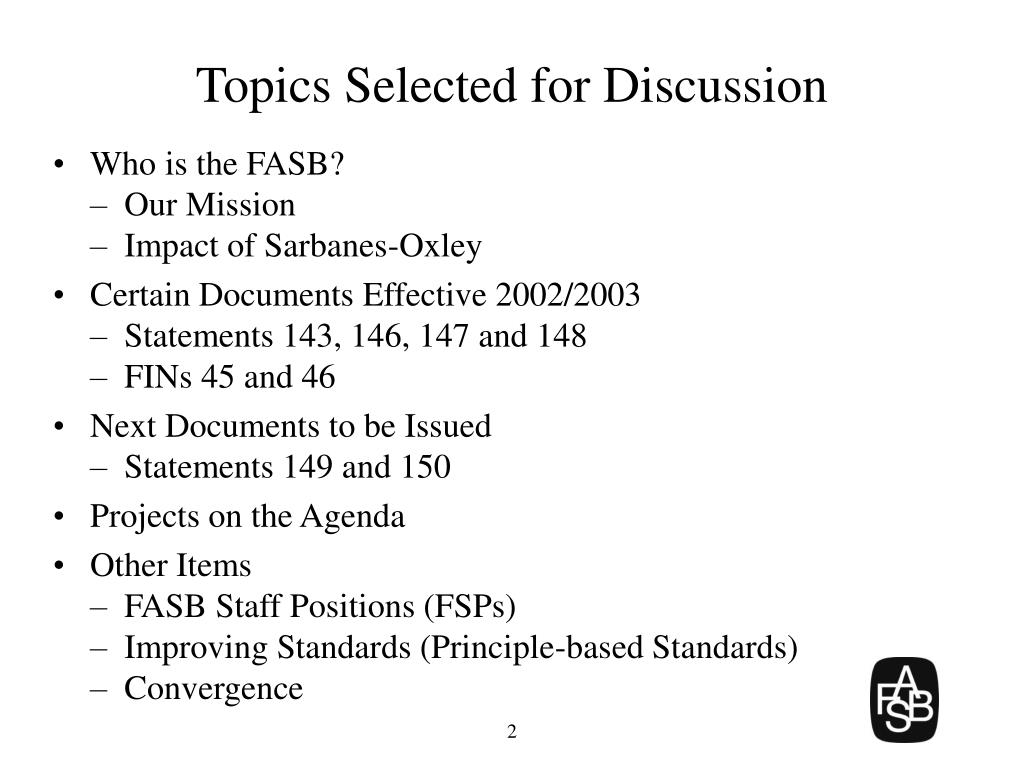 Topics Selected for Discussion