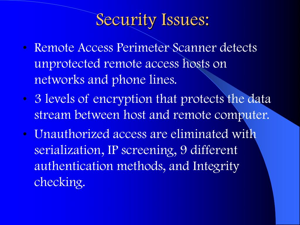 Security Issues: