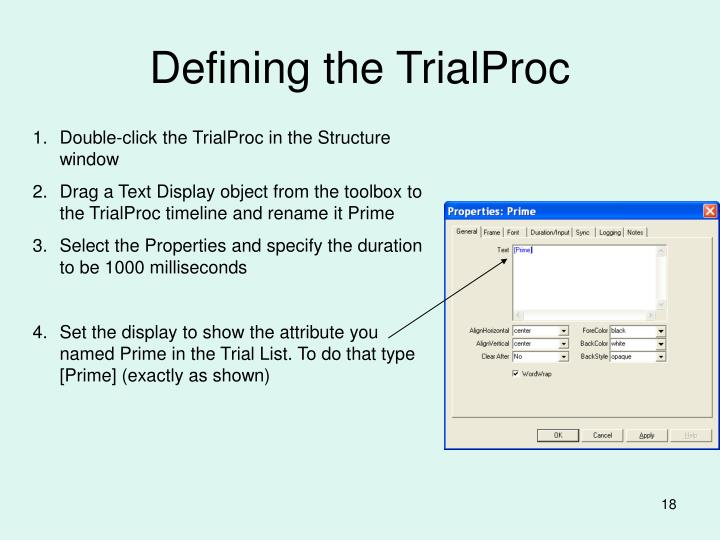 Defining the TrialProc