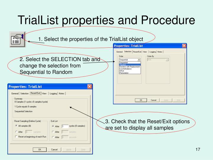 TrialList properties and Procedure