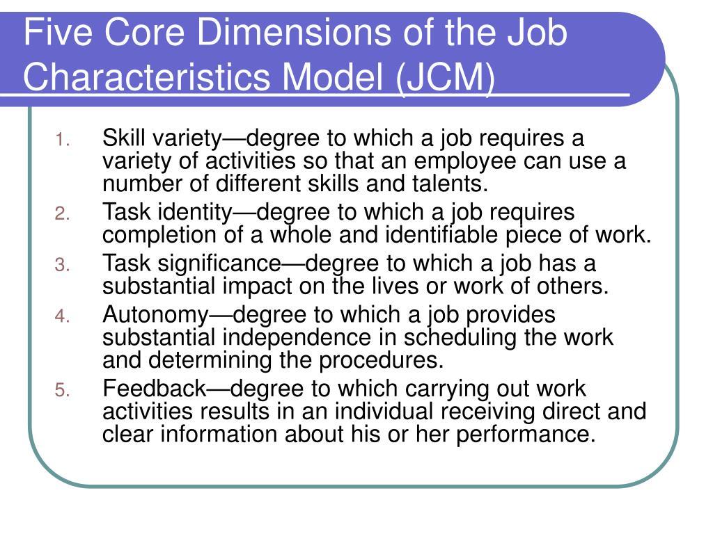 Five Core Dimensions of the Job Characteristics Model (JCM)