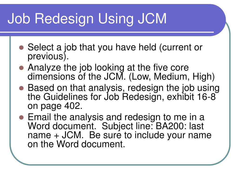 Job Redesign Using JCM