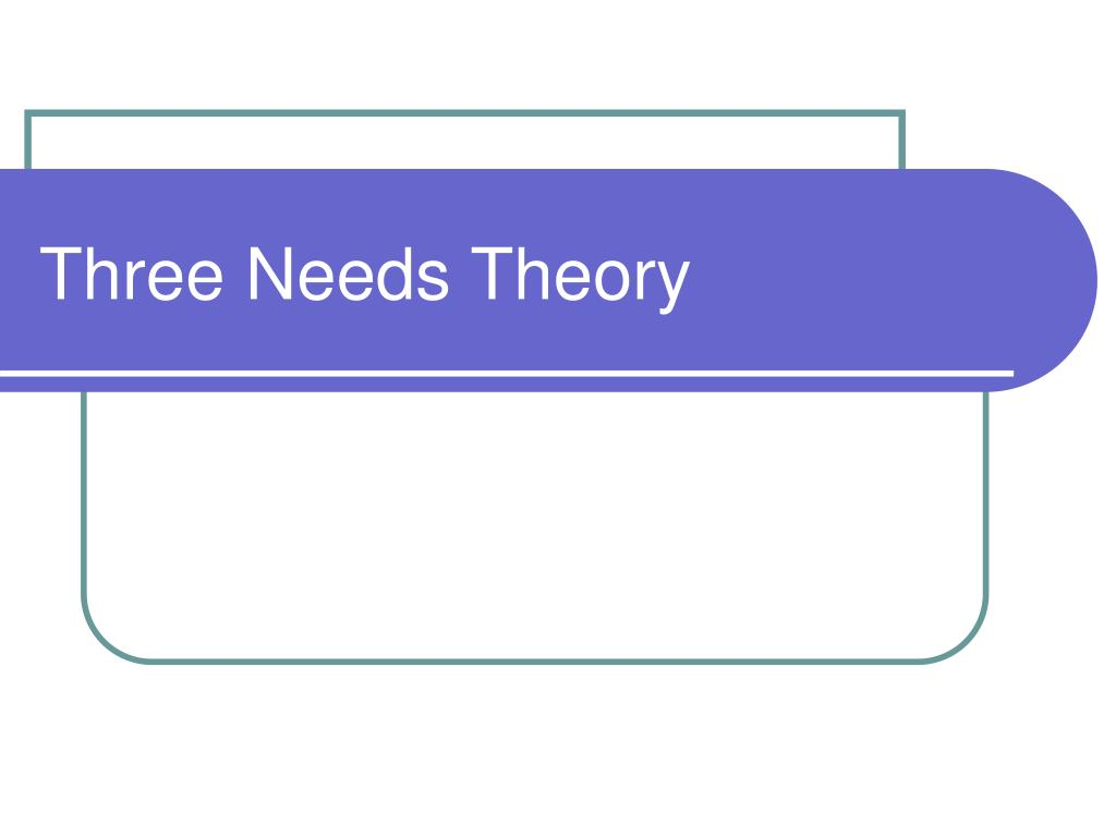 Three Needs Theory