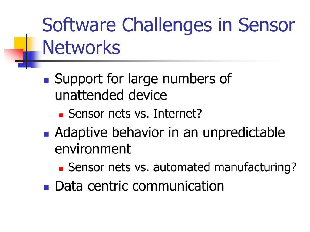 Software Challenges in Sensor Networks