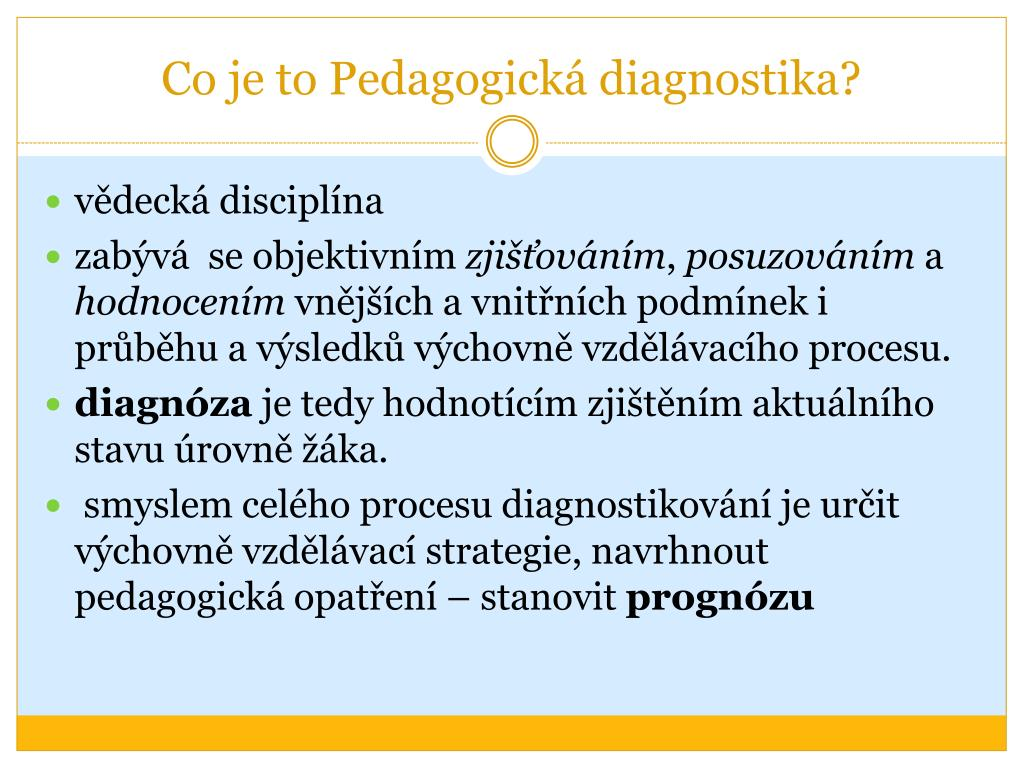 Co je to Pedagogická diagnostika?